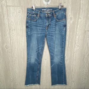 Old Navy Mid Rise Flare Capri Jeans 4
